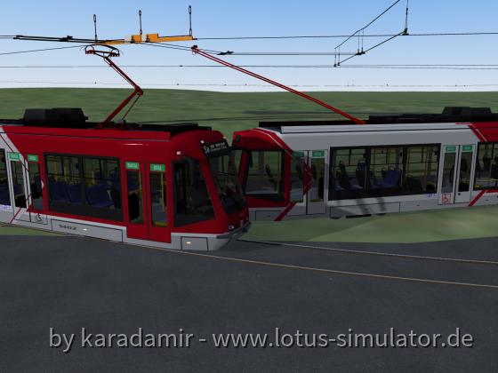 Tram and trolleybus crossing test.