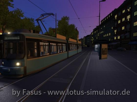Tram München, (H) Kurfürstenplatz, Linie 28 Richtung: Scheidplatz